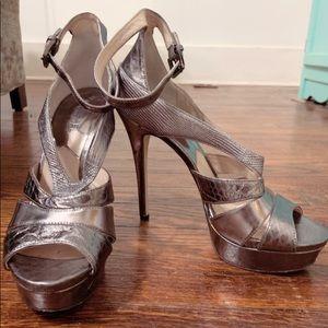 Silver Snakeskin Platform Stiletto Heels